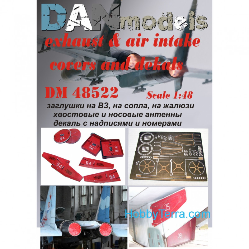 Su-27 exhaust & air intakes covers and decals, for Academy kit