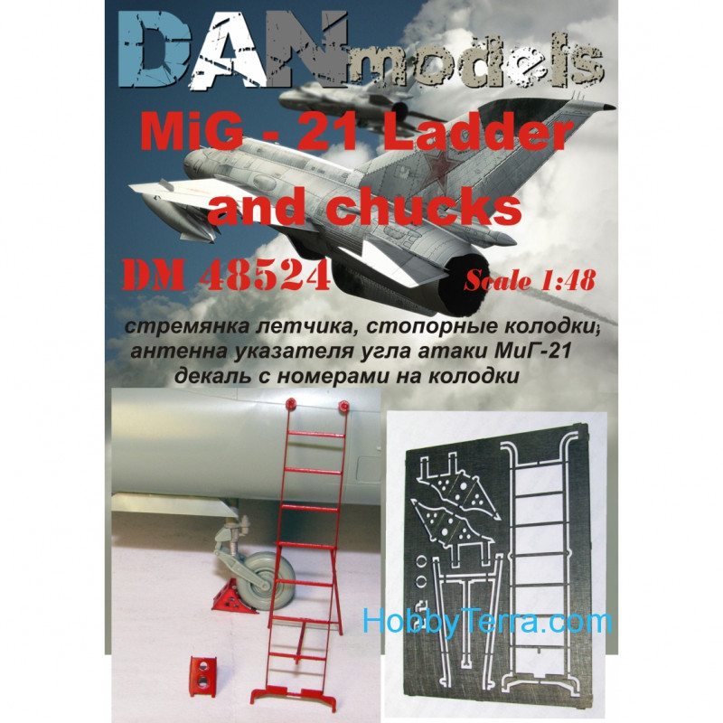 MiG-21 ladder, locking pads, antenna angle of attack indicator, for Academy kit