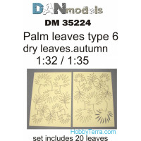Palm leaves, yellow (dry leaves. autumn) in 1:32-1:35 scales: type #6