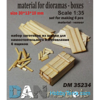 Material for dioramas - wooden boxes, 6pcs