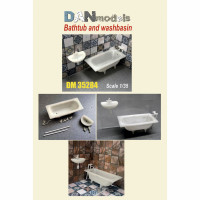 Accessories for diorama. Bathtub & washbasin 2 pcs