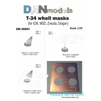 Photo-ethed set 1/35 T-34 wheel masks (for ICM, MSD, Zvezda, Dragon)
