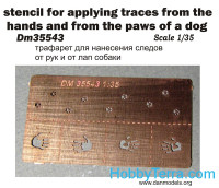 Photo-etched set 1/35 Stencil for applying traces of hands and dog's paws