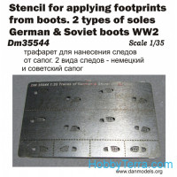 Photo-etched set 1/35 Stencil of footprints. 2 types of soles german&soviet boots, WWII