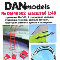 Mig-29 step-ladder, chocks, canopy mirrors, aerial