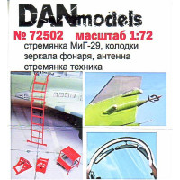 Photo-etched set 1/72 ladder, pads, mirrors, antenna for MiG-29