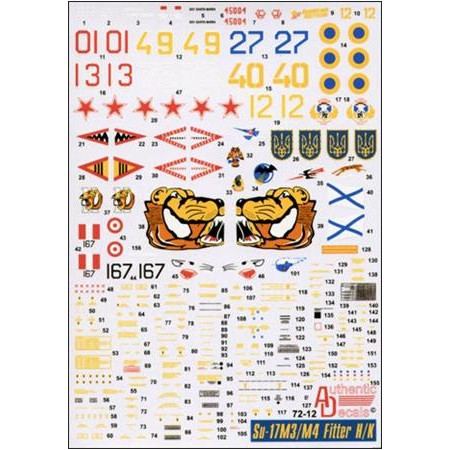 Decal 1/72 for Sukhoi Su-17M3/M4 Fitter H/K