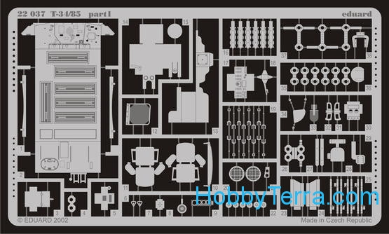 Photo-etched set 1/72 T-34/85, for Revell kit