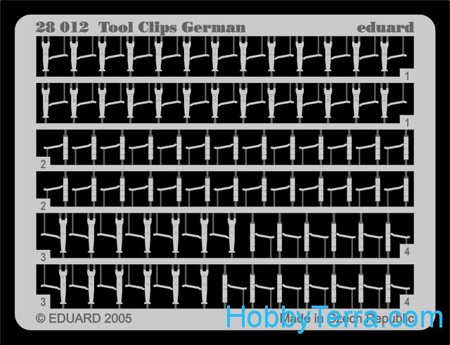 Photo-etched set 1/48 German tool clips
