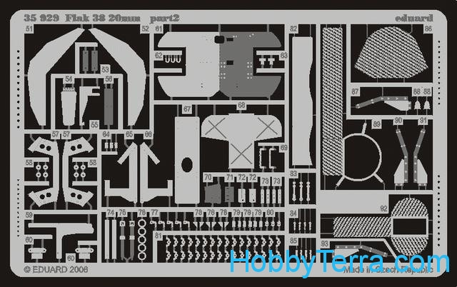 Eduard  35929 Photo-etched set 1/35 Flak 38 20mm, for TRISTAR 010 kit
