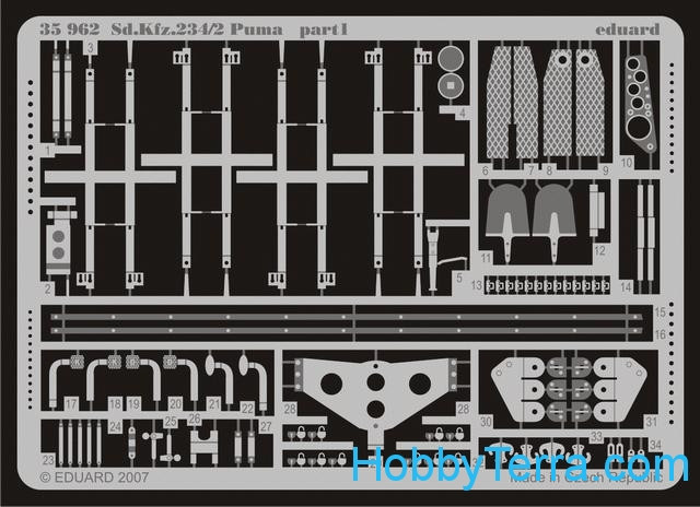 Photo-etched set 1/35 Sd.Kfz.234/2 Puma, for Dragon6256 kit
