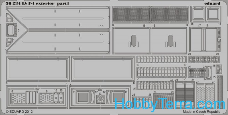 Photo-etched set 1/35 LVT-4 exterior, for AFV kit
