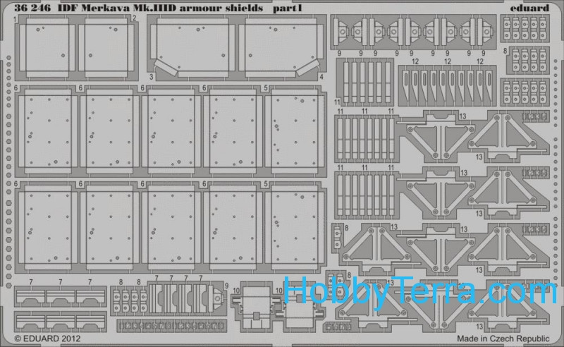 Photo-etched set 1/35 IDF Merkava Mk.IIID armour shields, for Meng kit