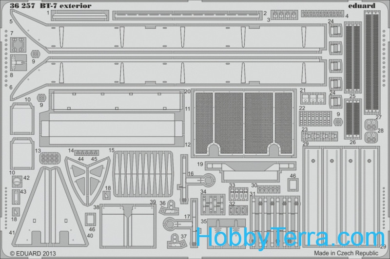 Photo-etched set 1/35 BT-7 exterior, for Tamiya kit