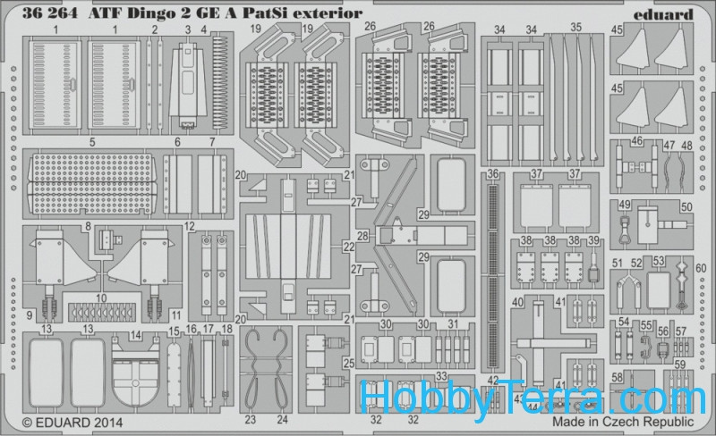 Photo-etched set 1/35 ATF Dingo 2 GE A PatSi exterior, for Revell kit