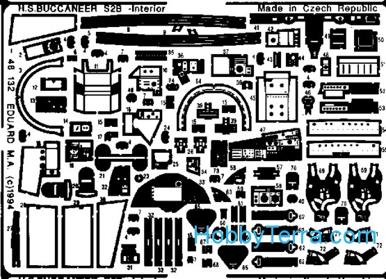 Eduard  48132 Photo-etched set 1/48 Bucaneer Interrior, for Airfx kit