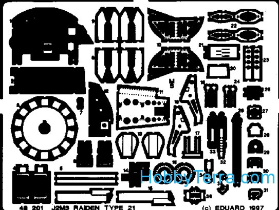 Eduard  48201 Photo-etched set 1/48 J2M3 Raiden Type 21, for Hasegawa kit