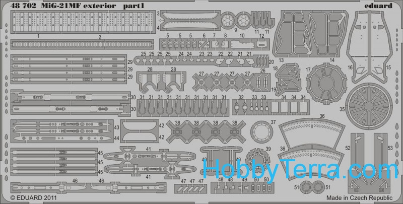 Photo-etched set 1/48 MiG-21MF exterior, for Eduard kit