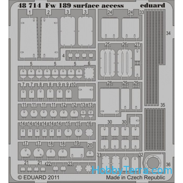 Photo-etched set 1/48 Fw 189 surface access, for GWH kit