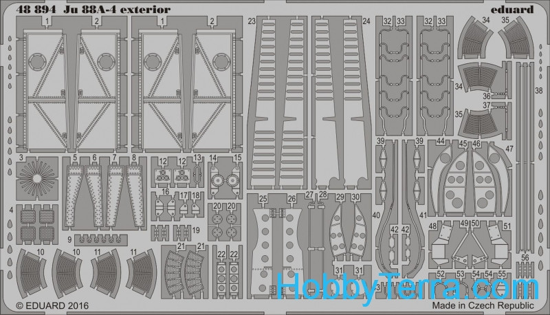 Photo-etched set 1/48 for Ju 88A-4 exterior, for ICM kit