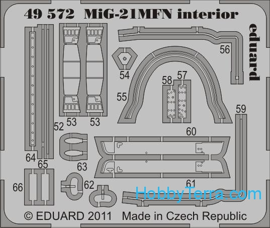Photo-etched set 1/48 MiG-21MFN interior (self adhesive), for Eduard kit