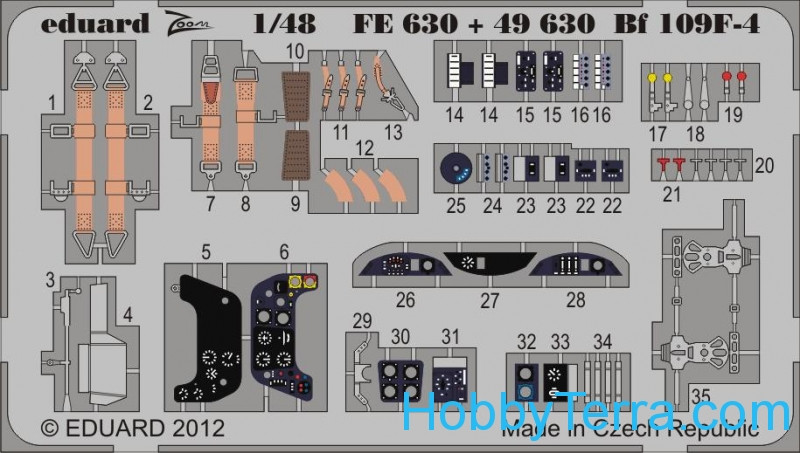 Eduard  49630 Photo-etched set 1/48 Bf 109F-4 (self adhesive), for Zvezda kit