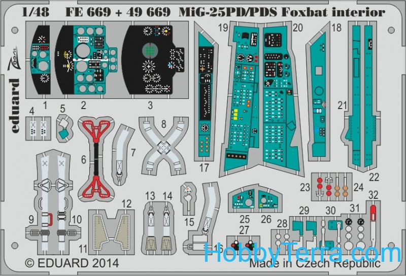 Photo-etched set 1/48 MiG-25PD/PDS Foxbat interior (self adhesive), for Kitty Hawk kit