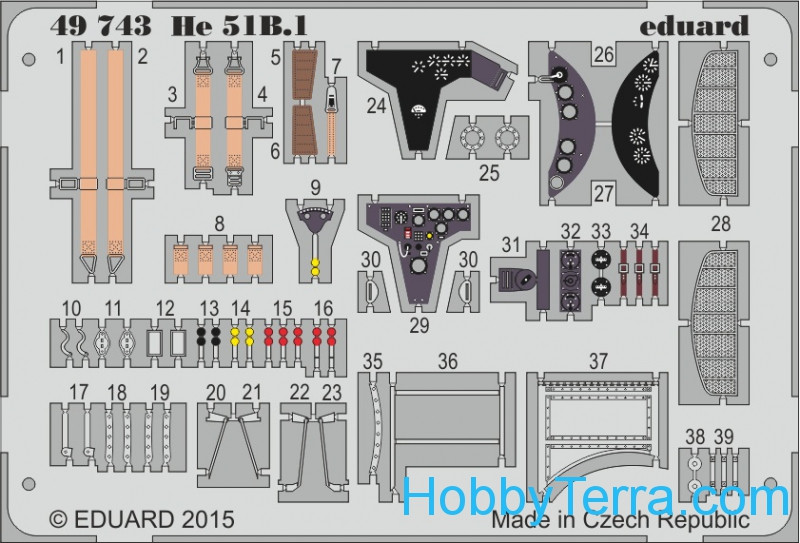 Photo-etched set 1/48 He 51B.1, for Roden kit