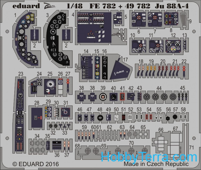 Photo-etched set 1/48 for Ju 88A-4 interior, for ICM kit