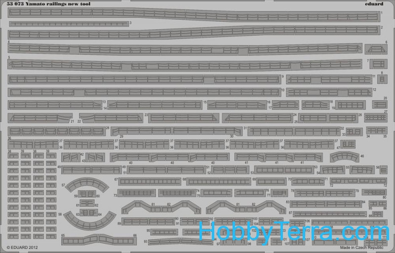 Photo-etched set 1/350 Yamato railings new tool, for Tamiya kit