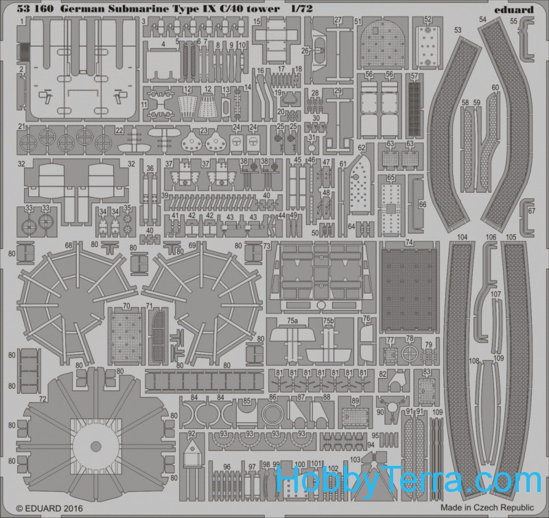 Photo-etched set 1/72 German Submarine Type IX C/40 tower, for Revell kit