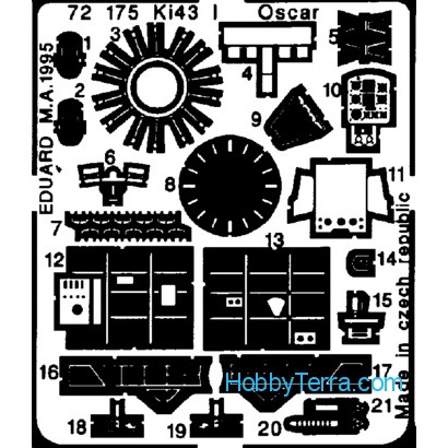 Photo-etched set 1/72 Ki-43-I Oscar, for Fujimi kit