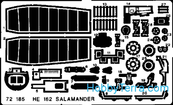 Photo-etched set 1/72 He-162 Salamander, for Dragon kit