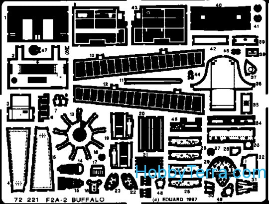 Eduard  72221 Photo-etched set 1/72 F2A-2 Buffalo, for Hasegawa kit