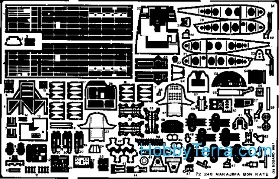 Photo-etched set 1/72 B5N Kate, for Hasegawa kit