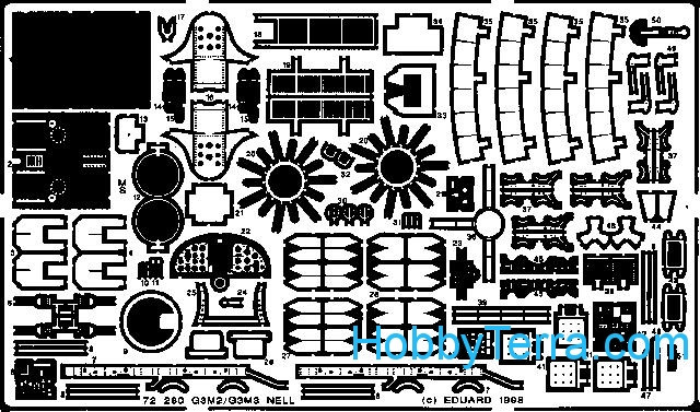 Photo-etched set 1/72 G3M2/3 Nell, for Hasegawa kit