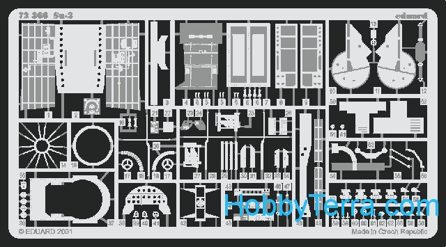 Photo-etched set 1/72 Su-2, for ICM kit