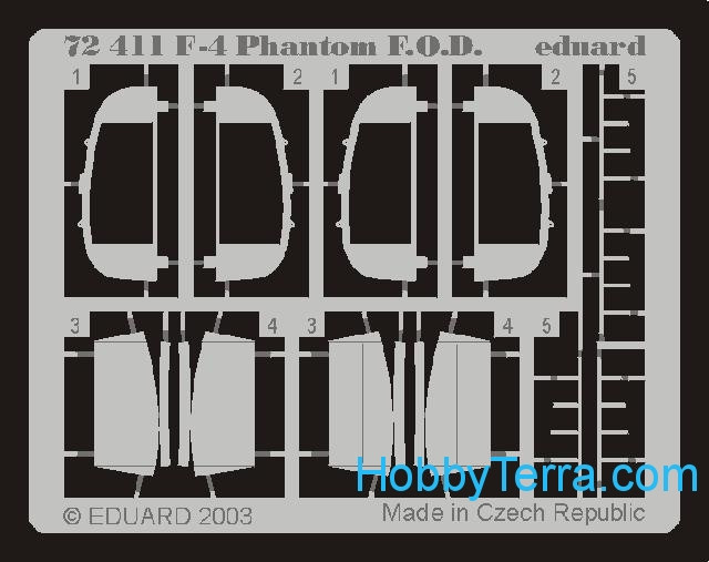 Photo-etched set 1/72 F-4 Phantom F.O.D., for Hasegawa kit