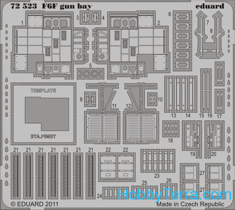Photo-etched set 1/72 F6F gun bay, for Eduard kit