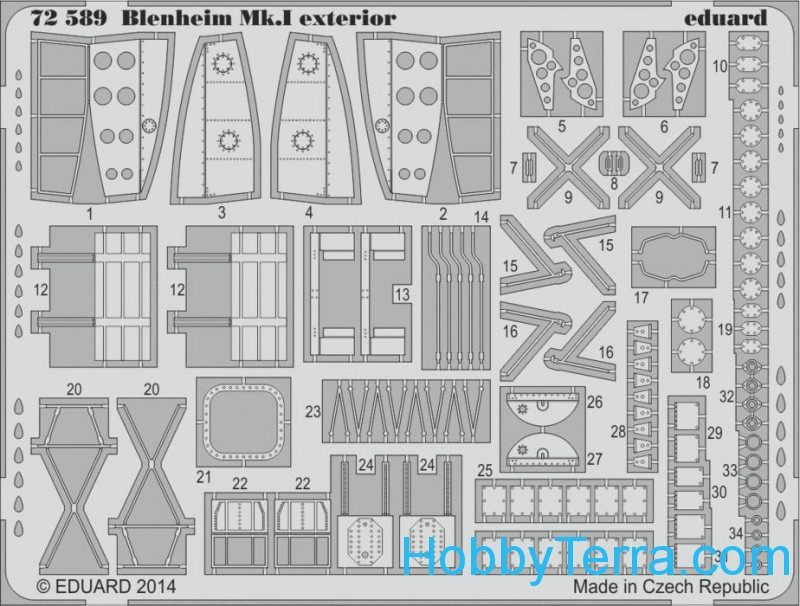 Photo-etched set 1/72 Blenheim Mk.I exterior, for Airfix kit