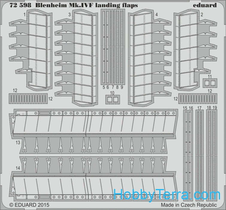 Photo-etched set 1/72 Blenheim Mk.IVF landing flaps, for Airfix kit