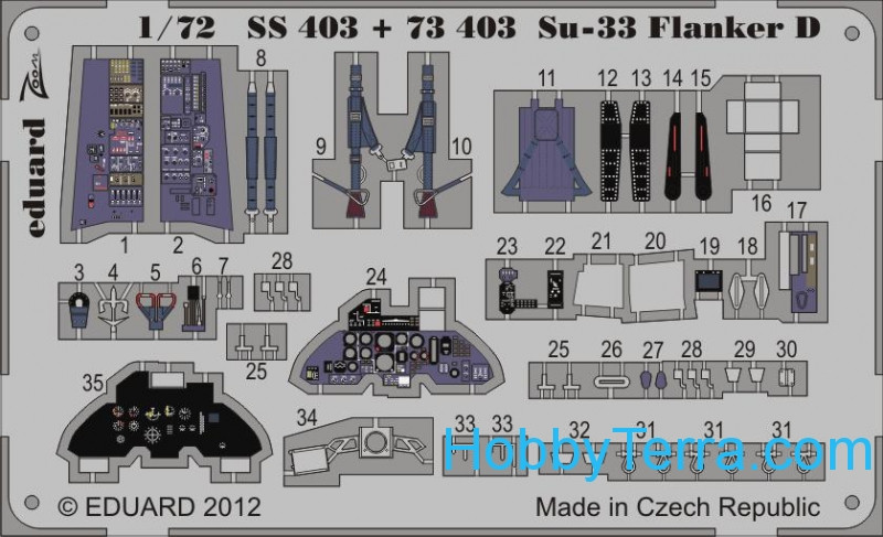 Photo-etched set 1/72 Su-33 Flanker D (self adhesive), for Hasegawa kit