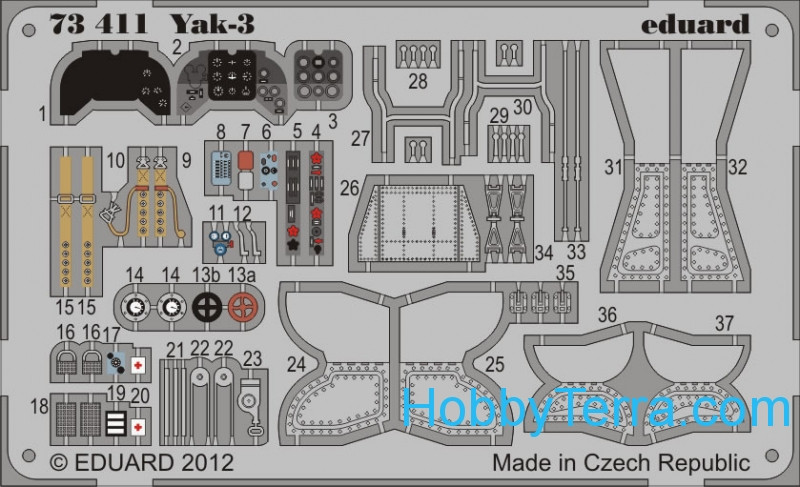 Photo-etched set 1/72 Yak-3, for Zvezda kit
