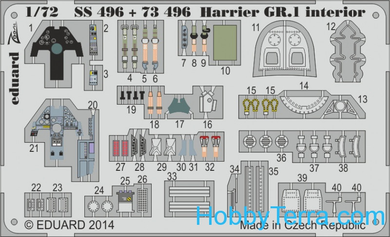 Eduard  73496 Photo-etched set 1/72 Harrier GR.1 S.A., for Airfix kit