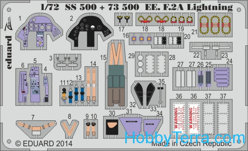 Photo-etched set 1/72 EE F.2A Lightning, for Airfix kit