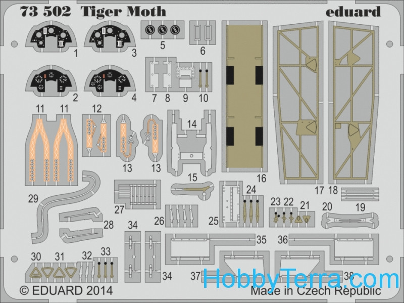 Photo-etched set 1/72 Tiger Moth, for Airfix kit