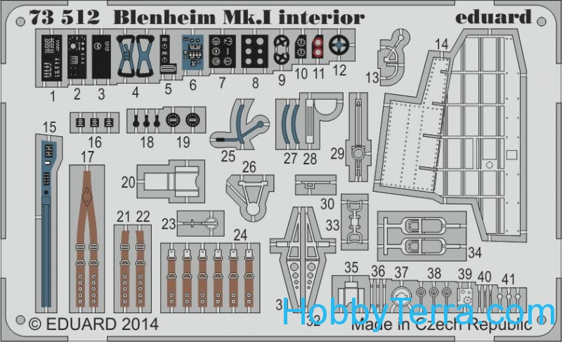 Photo-etched set 1/72 Blenheim Mk.I interior, for Airfix kit