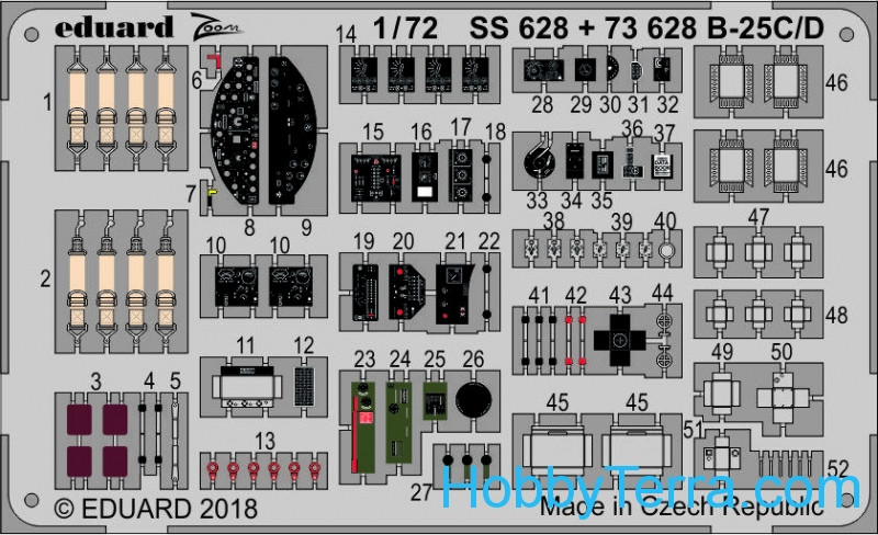 Photo-etched set 1/72 for B-25C/D, for Airfix kit