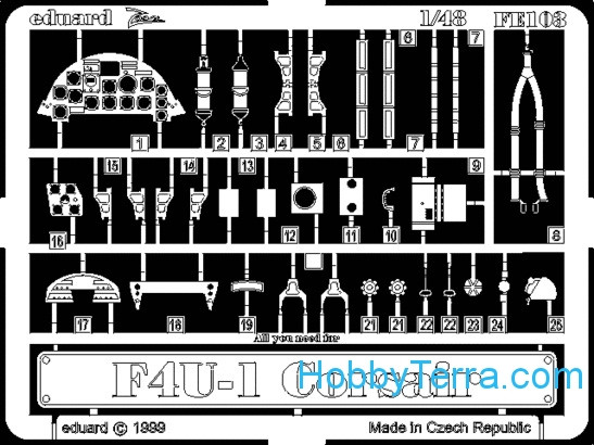 Eduard  FE103 Photo-etched set 1/48 F4U-1 Corsair, for Tamiya kit