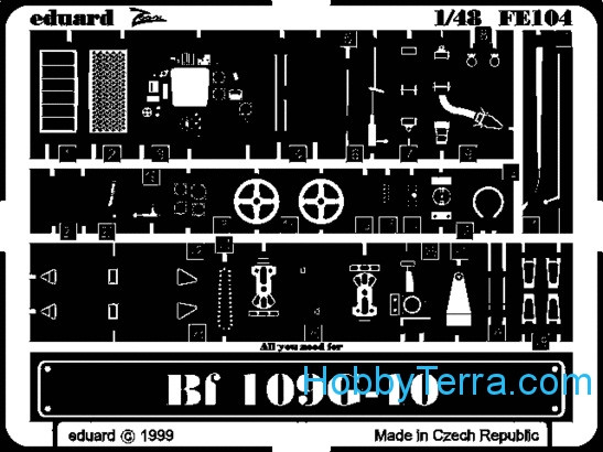Photo-etched set 1/48 Bf-109 G-10, for Revell kit